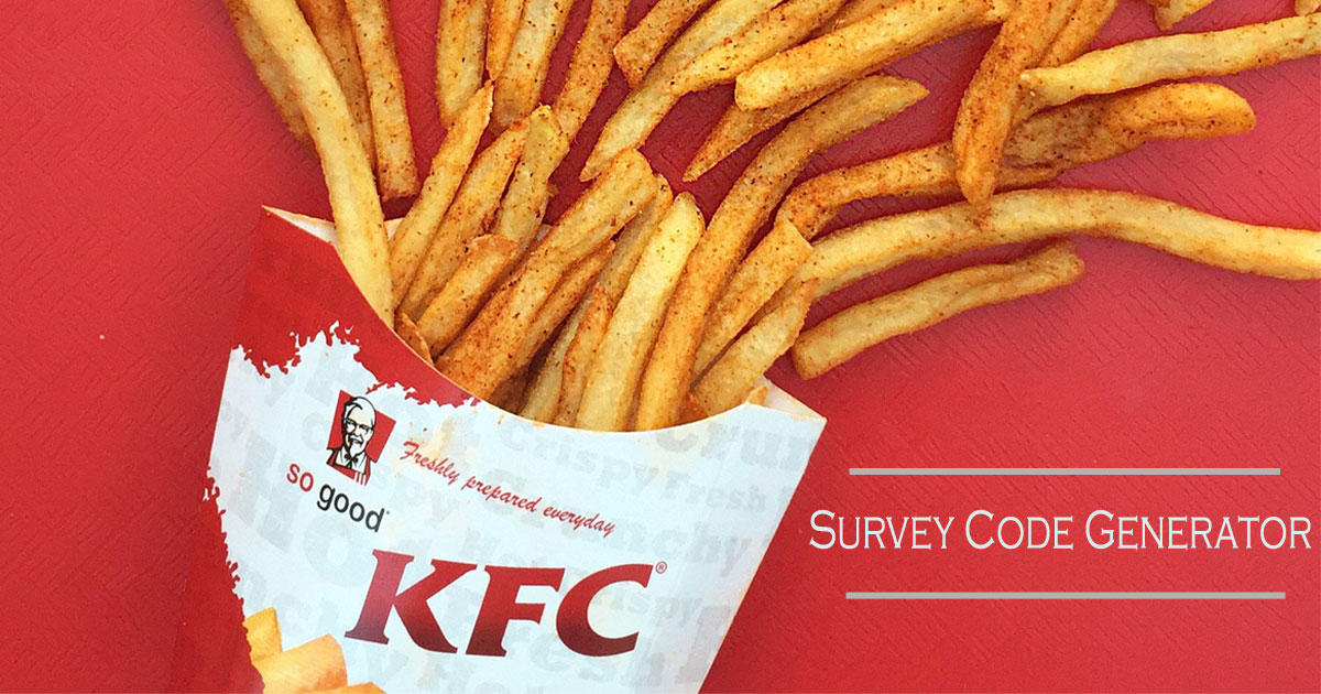 KFC Survey Code Generator – Can we get codes manually?
